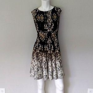 CB Established 1962 Black/Brown Paisley Dress.
